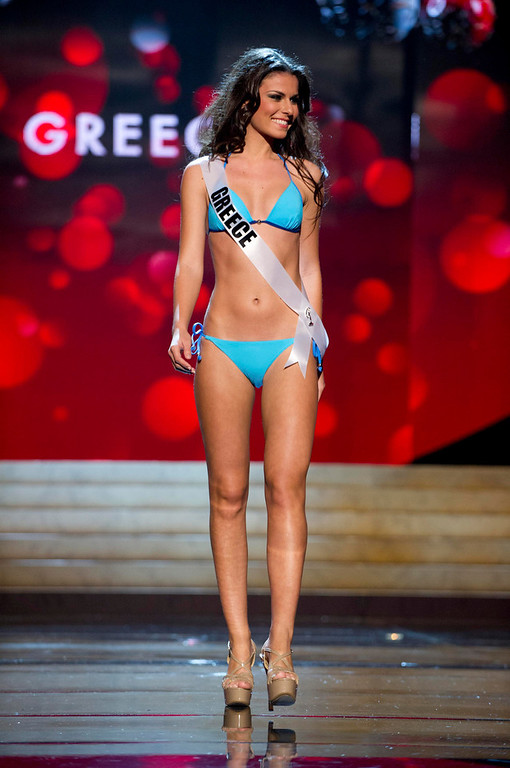Description of . Miss Greece 2012 Vasiliki Tsirogianni competes during the Swimsuit Competition of the 2012 Miss Universe Presentation Show at PH Live in Las Vegas, Nevada December 13, 2012. The Miss Universe 2012 pageant will be held on December 19 at the Planet Hollywood Resort and Casino in Las Vegas. REUTERS/Darren Decker/Miss Universe Organization L.P/Handout