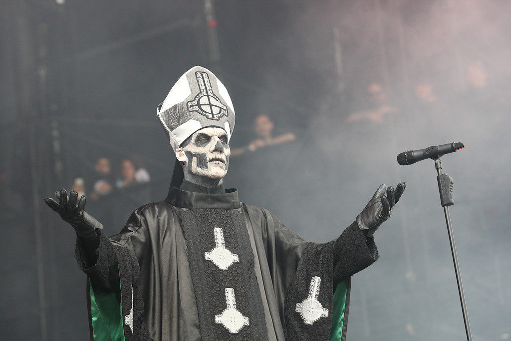 Description of . Papa Emeritus II of the Swedish band Ghost BC performs on day 1 of Lollapalooza 2013 at Grant Park on Friday, Aug. 2, 2013 in Chicago. (Photo by Steve Mitchell/Invision/AP)