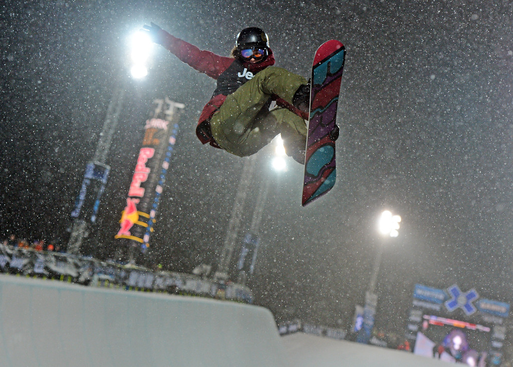Description of . ASEN, CO. - JANUARY 26:  Kelly Clark wins gold during the Women's Snowboard SuperPipe Final, January 26, 2013, at the 2013 Winter X Games at Buttermilk Mountain in Aspen. (Photo By RJ Sangosti / The Denver Post)
