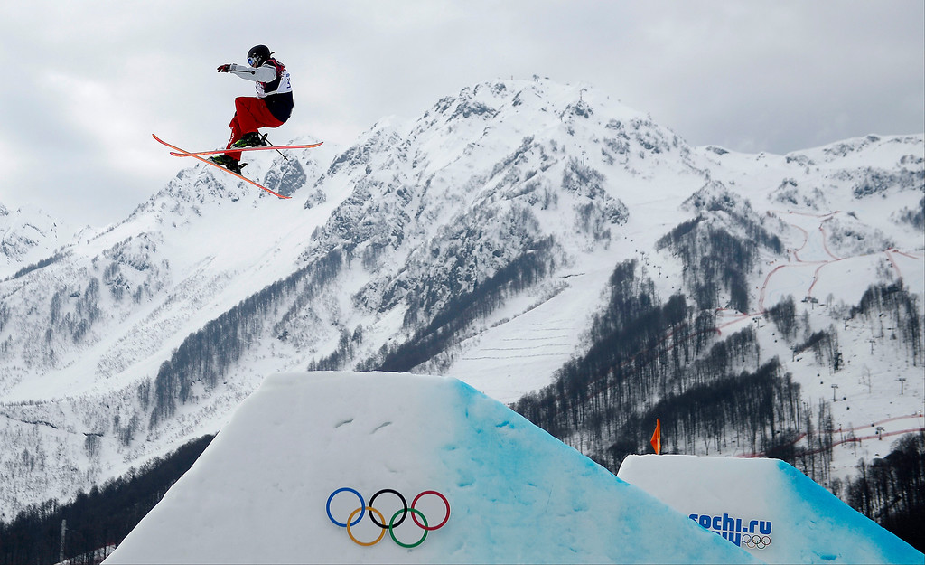Description of . U.S.A. skier Julia Krass jumps during the women\'s ski slopestyle final. Sochi 2014 Winter Olympics on Tuesday, February 11, 2014. (Photo by AAron Ontiveroz/The Denver Post)