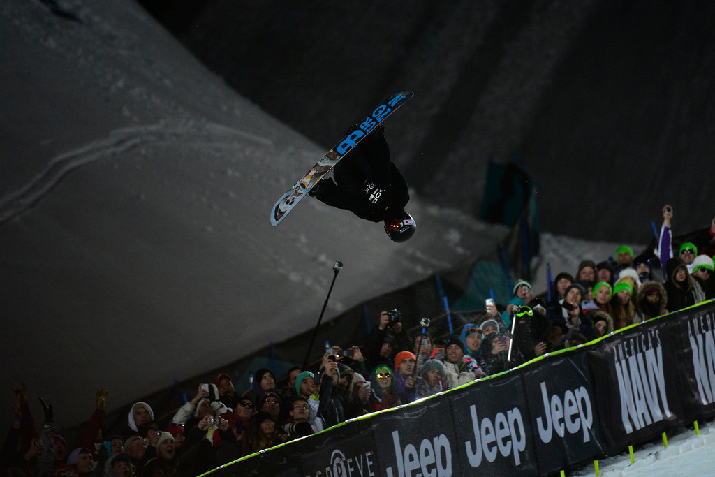 Description of . ASPEN, CO. - JANUARY 26:  Shaun White catches air during his second run in the men's snowboard superpipe finals. White went on to win gold for the sixth time in this event. The 2013 Aspen X Games on Buttermilk Mountain on January 27, 2013. (Photo By Mahala Gaylord / The Denver Post)