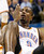 Oklahoma City Thunder forward Serge Ibaka (9) looks at the blood from his head after an injury in the fourth quarter of an NBA basketball game against the Denver Nuggets in Oklahoma City, Tuesday, March 19, 2013. Denver won 114-104. (AP Photo/Sue Ogrocki)
