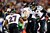 Joe Flacco #5 of the Baltimore Ravens hands the ball off to Ray Rice #27 against the New England Patriots during the 2013 AFC Championship game at Gillette Stadium on January 20, 2013 in Foxboro, Massachusetts.  (Photo by Jared Wickerham/Getty Images)