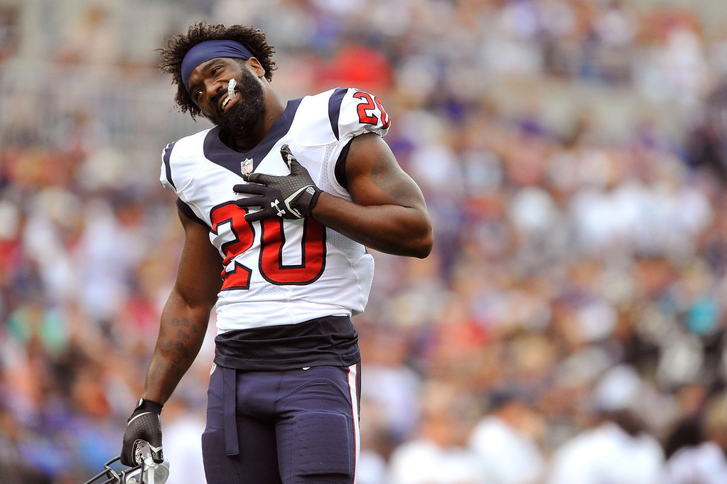 Description of . Free safety Ed Reed #20 of the Houston Texans plays to the fans during a time out during the game against the Baltimore Ravens at M&T Bank Stadium on September 22, 2013 in Baltimore, Maryland.  (Photo by Larry French/Getty Images)