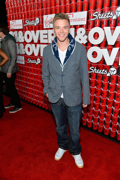 ". Actor Brett Davern attends Relativity Media\'s ""21 and Over\"" premiere at Westwood Village Theatre on February 21, 2013 in Westwood, California.  (Photo by Frazer Harrison/Getty Images for Relativity Media)"