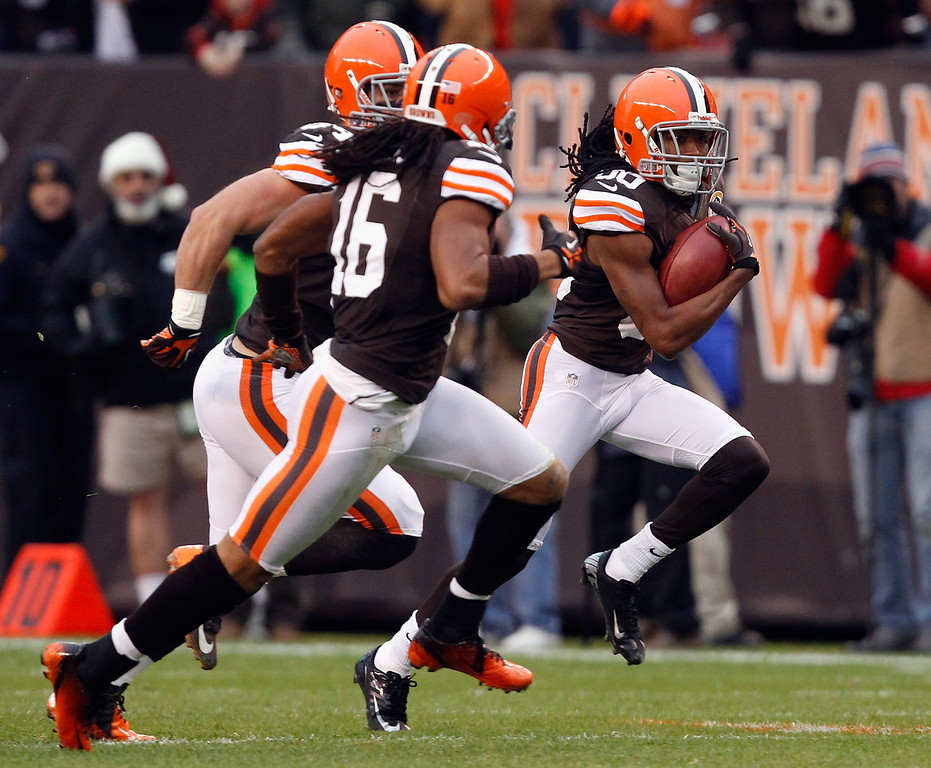 Description of . CLEVELAND, OH - DECEMBER 09:  Wide receiver Travis Benjamin #80 of the Cleveland Browns scores a touchdown as he runs with wide receiver Joshua Cribbs #16 against the Kansas City Chiefs at Cleveland Browns Stadium on December 9, 2012 in Cleveland, Ohio.  (Photo by Matt Sullivan/Getty Images)
