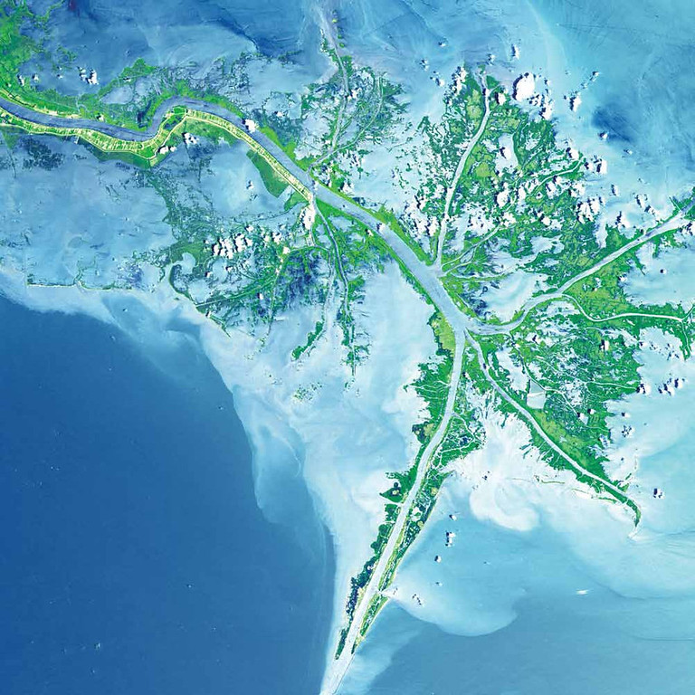 Description of . Mississippi River Delta, United States After receiving the Arkansas and Red Rivers, the Mississippi River travels to its terminus and joins the Gulf of Mexico. The river�s turbid waters spill out into the Gulf of Mexico, and its suspended sediment is deposited to form the Mississippi River Delta. As seen in this 2001 Terra image, marshes and mudflats (shades of green) prevail between shipping channels cut into the bird�s-foot delta. The marshes protect the mainland from storm surges and provide a home for fish and wildlife.   NASA