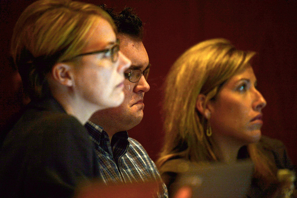 Description of . Tears roll down the face of Austin Sigg, center, in district court in Golden, Colo., on Monday, Nov. 18, 2013, during his sentencing phase. Sigg, 18, pleaded guilty last month to kidnapping and killing Jessica Ridgeway in Westminster in October 2012. (Photo by RJ Sangosti/The Denver Post)