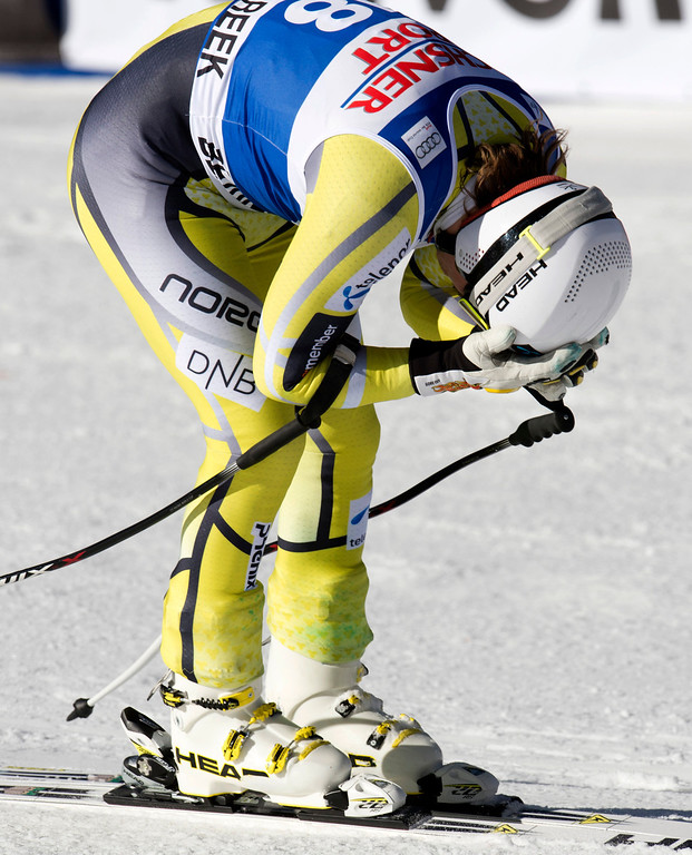 Description of . Kjetil Jansrud of Norway holds his head after finishing sixth in the FIS Alpine World Cup men's Super G on December 1, 2012 in Beaver Creek, Colorado.   DON EMMERT/AFP/Getty Images