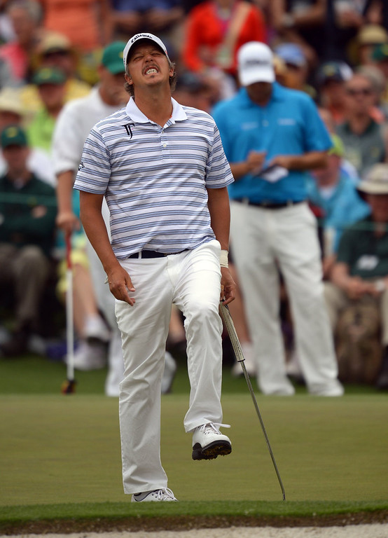 Description of . Freddie Jacobson of Sweden reacts to missed putt during the fourth round of the 77th Masters golf tournament at Augusta National Golf Club on April 14, 2013 in Augusta, Georgia.  JIM WATSON/AFP/Getty Images