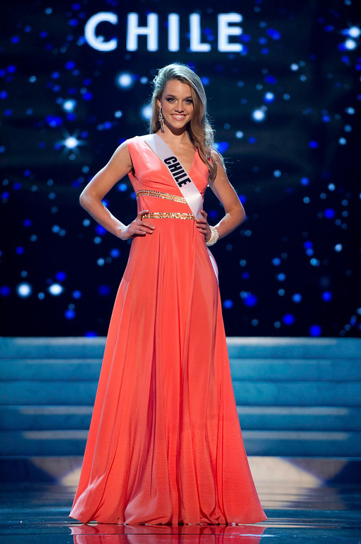 Description of . Miss Chile 2012 Ana Luisa Konig competes in an evening gown of her choice during the Evening Gown Competition of the 2012 Miss Universe Presentation Show in Las Vegas, Nevada, December 13, 2012. The Miss Universe 2012 pageant will be held on December 19 at the Planet Hollywood Resort and Casino in Las Vegas. REUTERS/Darren Decker/Miss Universe Organization L.P/Handout