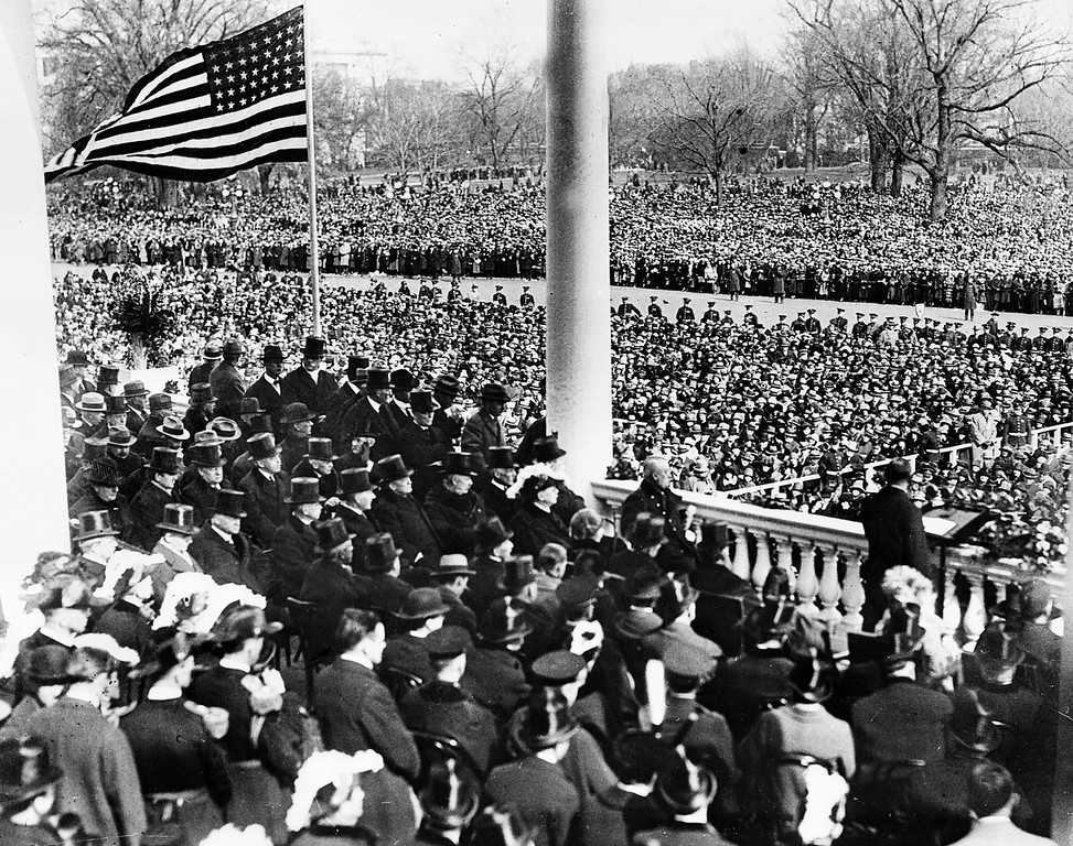 Description of . U.S. President Calvin Coolidge, right foreground, delivers his inaugural address after taking the oath of office on the East Portico of the Capitol building in Washington, D.C. on March 4, 1925. Coolidge was sworn in as the 30th president of the United States.  (AP Photo)