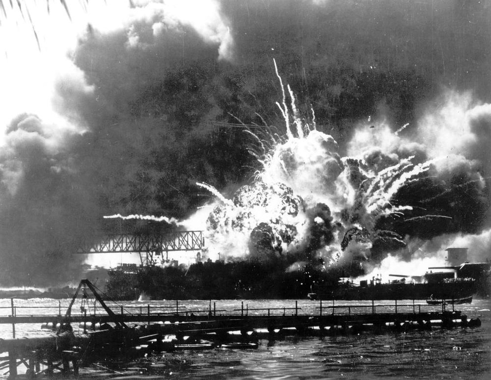 Description of . The destroyer USS Shaw explodes after being hit by bombs during the Japanese surprise attack on Pearl Harbor, Hawaii, December 7, 1941. (AP Photo)