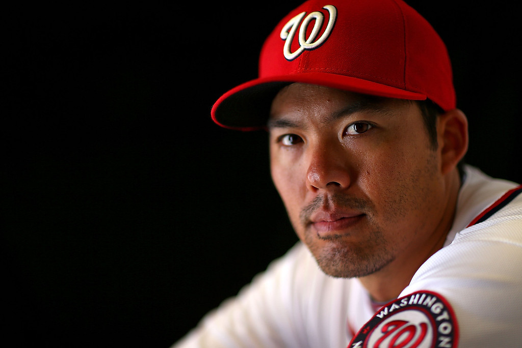 Description of . VIERA, FL - FEBRUARY 20:  Kurt Suzuki #24 of the Washington Nationals poses for a portrait during photo day at Space Coast Stadium on February 20, 2013 in Viera, Florida.  (Photo by Mike Ehrmann/Getty Images)