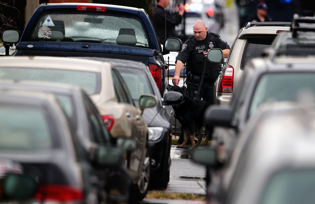 Description of . A police officer inspects vehicles with his canine at a parking lot outside the Washington Navy Yard as he responds to a shooting September 16, 2013 in Washington, DC. Police believe there to be two shooters who killed several people and wounded others in an incident that put parts of the city on lockdown.  (Photo by Alex Wong/Getty Images)