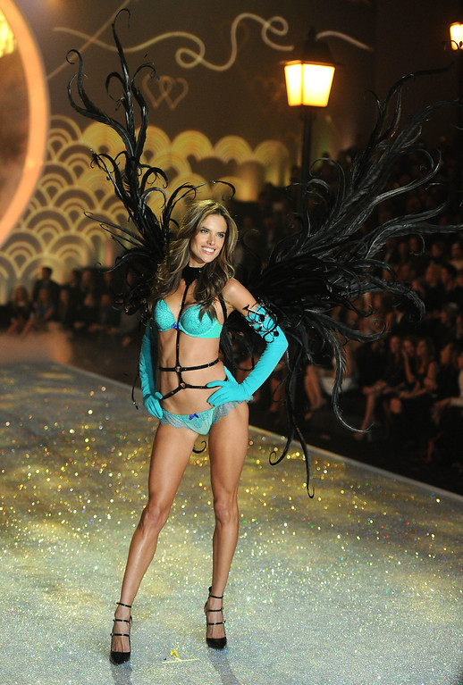 Description of . Model Alessandra Ambrosio walks the runway at the 2013 Victoria's Secret Fashion Show at Lexington Avenue Armory on November 13, 2013 in New York City.  (Photo by Jamie McCarthy/Getty Images)