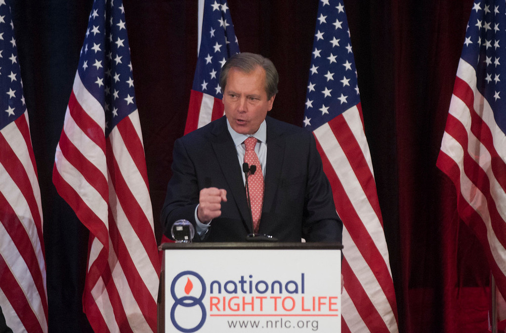 Description of . Texas Lt. Governor David Dewhurst gives a speech at the National Right to Life Convention on Saturday, June 29, 2013. Dewhurst promised he would not allow crowds to derail a vote on abortion restrictions again, after a chaotic scene in which screaming protesters ran out the clock on a vote.  (AP Photo/The Dallas Morning News, Rex C. Curry)