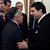 Paraguayan President Federico Franco (R) shakes hands with former Paraguayan Army commander Lino Oviedo, during a ceremony at the Presidential Palace in Asuncion on June 26, 2012. Paraguayan presidential candidate Oviedo, who helped lead the 1989 coup that overthrew former dictator Alfredo Stroessner, died in a helicopter crash over the weekend. Police rescuers found his body on February 3, 2013 in the wreckage of a helicopter crash in northern Paraguay where he was traveling for a campaign event. REUTERS/Marcos Brindicci/Files