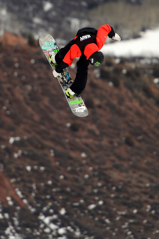 Description of . ASPEN, CO - JANUARY 26: Gjemund Braaten hits a jump during the men's snowboard slopestyle final. X Games Aspen Buettermilk Mountain Aspen January 26, 2013 (Photo By AAron Ontiveroz / The Denver Post)