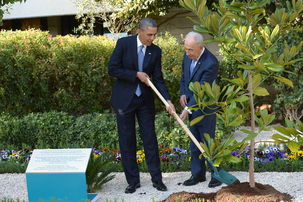 Description of . In this handout image supplied by the Government Press Office of Israel (GPO), U.S. President Barack Obama (L) takes part in a tree planting ceremony with Israeli President Shimon Peres at his residence on March 20, 2013 in Jerusalem, Israel.(Photo by Amos Ben Gershom/GPO via Getty Images)