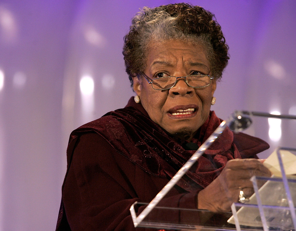 ". Poet Maya Angelou reads her poem ""Amazing Peace\"" during the 2005 Christmas Pageant of Peace and National Christmas Tree lighting ceremony December 1, 2005 on the Ellipse in Washington, DC.  (Photo by Chip Somodevilla/Getty Images)"