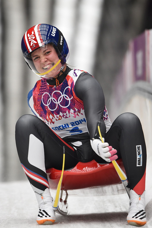 Description of . US Kate Hansen reacts at the end of her Women\'s Luge Singles event final run at the Sanki Sliding Center during the Sochi Winter Olympics on February 11, 2014.   LEON NEAL/AFP/Getty Images