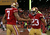 Quarterback Colin Kaepernick #7 of the San Francisco 49ers celebrates with running back LaMichael James #23 after running the ball for a touchdown against the Green Bay Packers in the third quarter during the NFC Divisional Playoff Game at Candlestick Park on January 12, 2013 in San Francisco, California.  (Photo by Stephen Dunn/Getty Images)