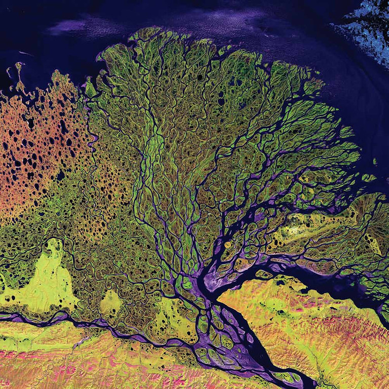 Description of . Lena River Delta, Russia The Lena River Delta in Siberia extends 100 kilometers into the Laptev Sea and Arctic Ocean, and it includes an extensive protected wilderness area and wildlife refuge. In this Landsat 7 image from 2000, vegetation appears as shades of green, sandy areas as shades of red, and water as purples and blues. The Lena River Delta is about 400 kilometers wide, and it divides into a multitude of flat islands. The delta is frozen tundra for about 7 months of the year, and spring transforms the region into a lush wetland.   NASA
