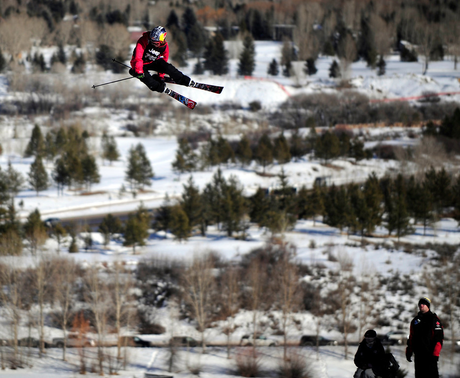 Description of . ASPEN, CO - January 27: Kaya  Turski goes off the final jump during the women's Ski Slopestyle final at Winter X Games Aspen 2013 at Buttermilk Mountain on Jan. 27, 2013, in Aspen, Colorado. Turski finished second. (Photo by Daniel Petty/The Denver Post)