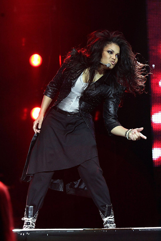 Description of . US singer Janet Jackson performs during the Jingle Bell Ball, at the O2 Arena in London, Sunday Dec. 6, 2009. (AP Photo/Yui Mok, PA)