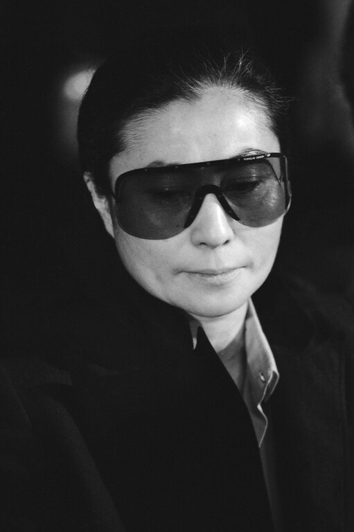 Description of . Yoko Ono accepted a cultural award for her late husband, John Lennon, from Mayor Ed Koch in New York on Friday, May 22, 1981 and said the city