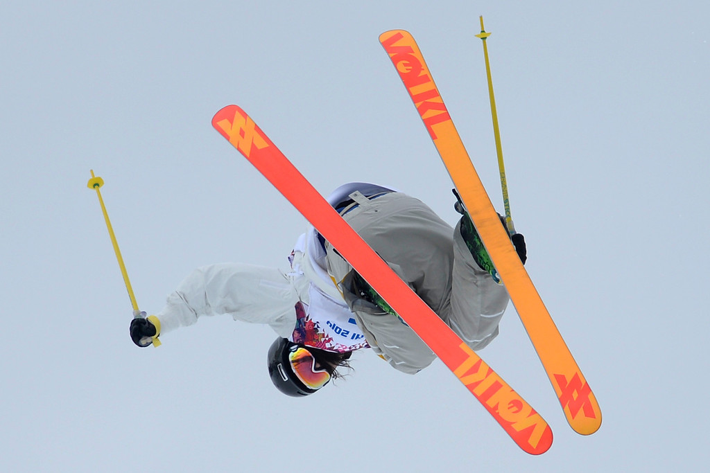 Description of . Kim Lamarre of Canada competes in the Freestyle Skiing Women\'s Ski Slopestyle Finals on day four of the Sochi 2014 Winter Olympics at Rosa Khutor Extreme Park on February 11, 2014 in Sochi, Russia.  (Photo by Cameron Spencer/Getty Images)