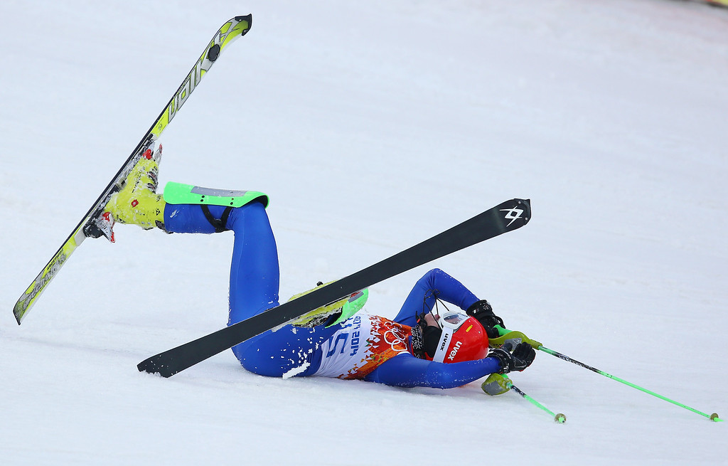 Description of . Barbora Lukacova of Slovakia crashes out during the Women's Slalom during day 14 of the Sochi 2014 Winter Olympics at Rosa Khutor Alpine Center on February 21, 2014 in Sochi, Russia.  (Photo by Doug Pensinger/Getty Images)
