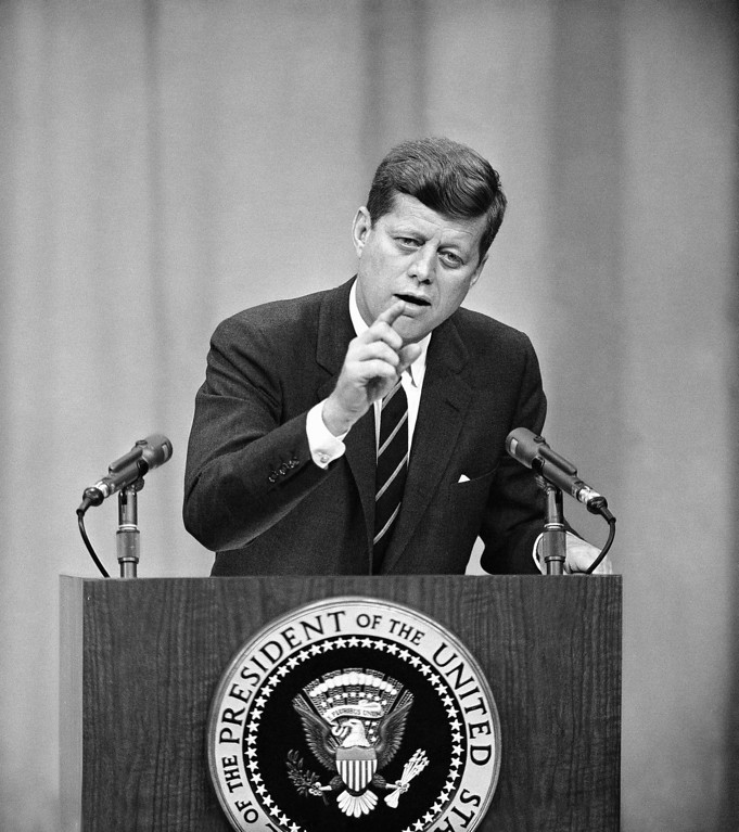 Description of . During a Feb. 15, 1961, news conference, Kennedy  warned Russia against any one-sided intervention in the internal affairs of turmoil-ridden Congo. William Smith, Associated Press file