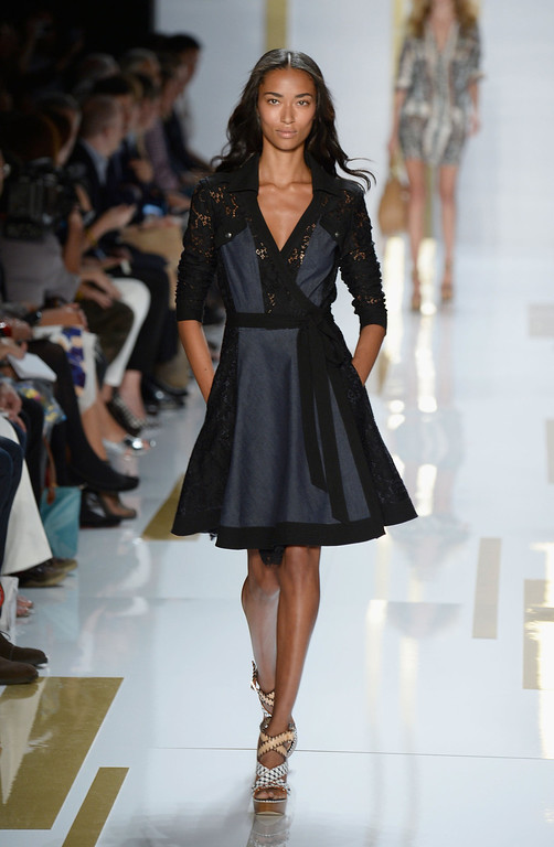 Description of . A model walks the runway at the Diane Von Furstenberg fashion show during Mercedes-Benz Fashion Week Spring 2014 at The Theatre at Lincoln Center on September 8, 2013 in New York City.  (Photo by Frazer Harrison/Getty Images for Mercedes-Benz Fashion Week Spring 2014)