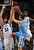 Denver Nuggets forward Danilo Gallinari of Italy (8) has his shot denied by the defense of Memphis Grizzlies center Marc Gasol of Spain (33) and guard Tony Allen (9) during the first half of their NBA basketball game in Memphis, Tennessee December 29, 2012.  REUTERS/Nikki Boertman (UNITED STATES - Tags: SPORT BASKETBALL)