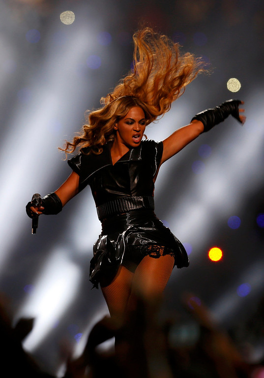 Description of . Beyonce performs during the halftime show of the NFL Super Bowl XLVII football game in New Orleans, Louisiana, February 3, 2013. REUTERS/Jeff Haynes