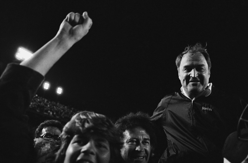 Description of . Pittsburgh Steelers coach Chuck Noll is carried off the field after his team defeated the Dallas Cowboys, 35-31, in Super Bowl XIII in Miami on Sunday, Jan. 21, 1979. (AP Photo)