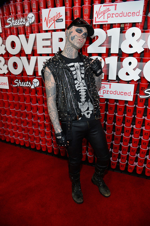 "Description of . Model Rick Genest ""Zombie Boy\"" attends Relativity Media\'s \""21 and Over\"" premiere at Westwood Village Theatre on February 21, 2013 in Westwood, California.  (Photo by Frazer Harrison/Getty Images for Relativity Media)"