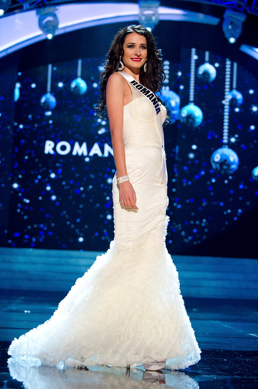 Description of . Miss Romania 2012 Delia Monica Duca competes in an evening gown of her choice during the Evening Gown Competition of the 2012 Miss Universe Presentation Show in Las Vegas, Nevada, December 13, 2012. The Miss Universe 2012 pageant will be held on December 19 at the Planet Hollywood Resort and Casino in Las Vegas. REUTERS/Darren Decker/Miss Universe Organization L.P/Handout