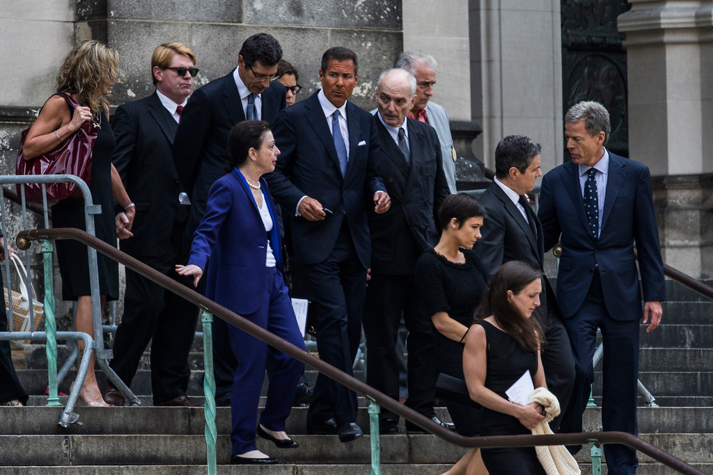Description of . David Chase (center right) leaves the funeral for actor James Gandolfini at The Cathedral Church of St. John the Divine on June 27, 2013 in New York City.   (Photo by Andrew Burton/Getty Images)