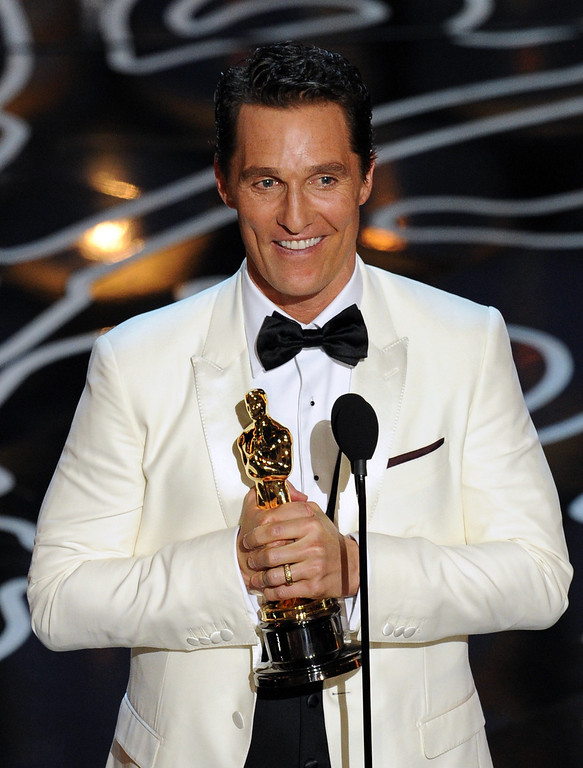 Description of . Actor Matthew McConaughey accepts the Best Performance by an Actor in a Leading Role award for 'Dallas Buyers Club' onstage during the Oscars at the Dolby Theatre on March 2, 2014 in Hollywood, California.  (Photo by Kevin Winter/Getty Images)
