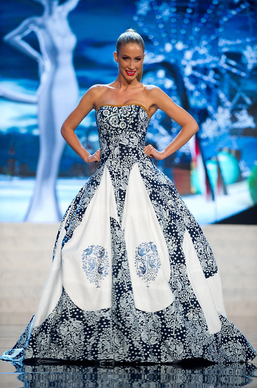 Description of . Miss Slovak Republic 2012, Lubica Stepanova, performs onstage at the 2012 Miss Universe National Costume Show on Friday, Dec. 14, 2012 at PH Live in Las Vegas, Nevada. The 89 Miss Universe Contestants will compete for the Diamond Nexus Crown on Dec. 19, 2012. (AP Photo/Miss Universe Organization L.P., LLLP)