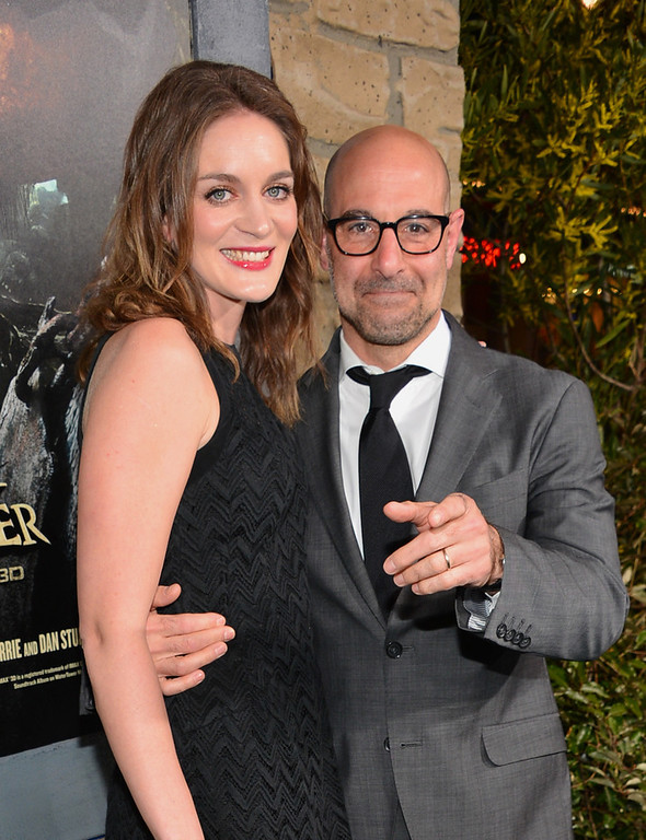 Description of . Actor Stanley Tucci (R) and Felicity Blunt attend the premiere of New Line Cinema's