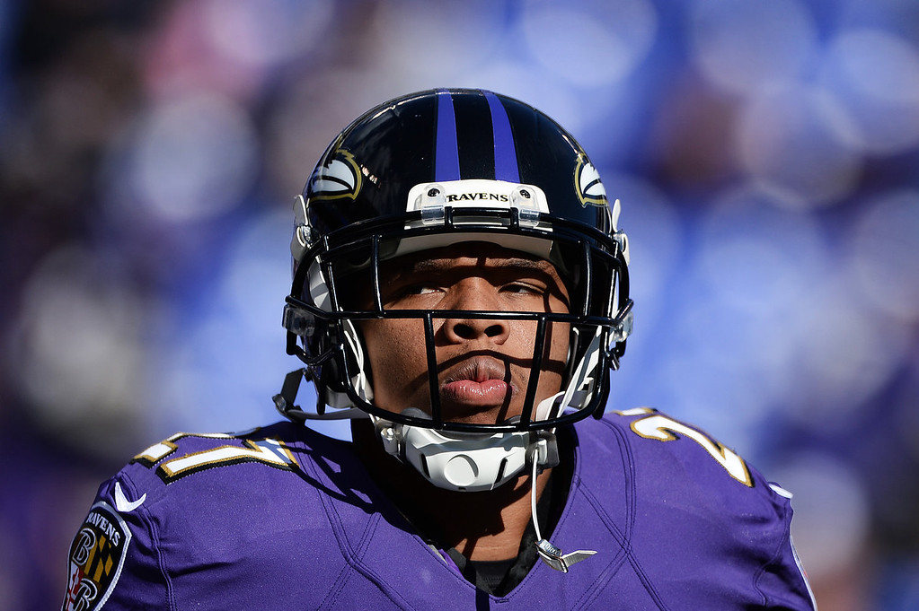 Description of . Running back Ray Rice #27 of the Baltimore Ravens looks on before playing the Cincinnati Bengals at M&T Bank Stadium on November 10, 2013 in Baltimore, Maryland. (Photo by Patrick Smith/Getty Images)