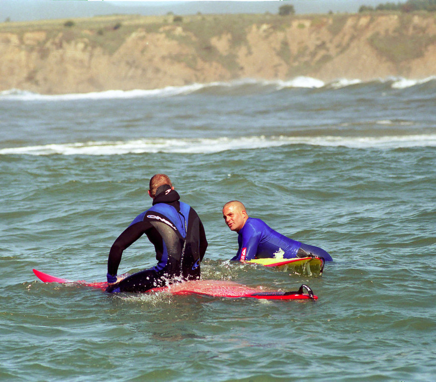 Description of . Jay Moriarity waits for his heat to begin in the 2000 Mavericks contest.  (Dan Coyro/Sentinel)