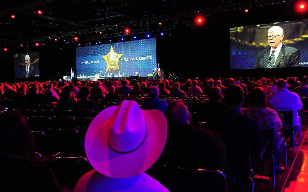 Description of . President of the NRA (National Rifle Association), David Keene is seen on a jumbo video screen as he addresses the annual Convention May 4, 2013 in Houston, Texas.     KAREN BLEIER/AFP/Getty Images