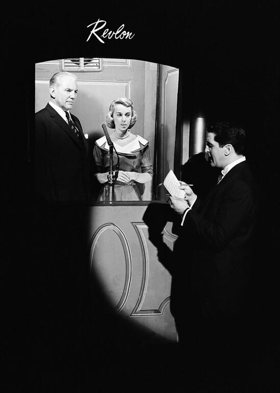 Description of . Dr. Joyce Brothers in isolation booth during questioning by Hal March, right, in the finals of the $ 64,000 question which Dr. Brothers successfully answered after advice on some of the answers by Eddie Eagan, December 1955. (AP Photo/Hans Von Nolde)