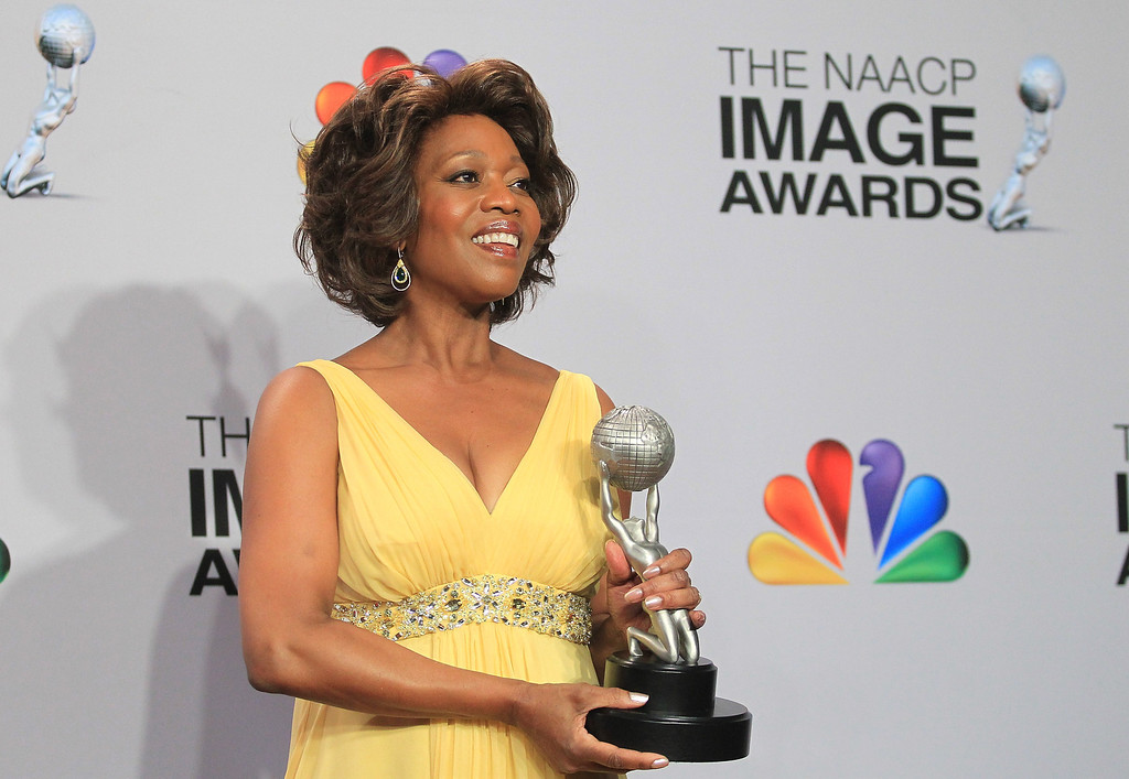 Description of . LOS ANGELES, CA - FEBRUARY 01:  Actress Alfre Woodard, winner of Outstanding Actress in a Television Movie, Mini-Series or Dramatic Special for \'Steel Magnolias,\' poses in the press room during the 44th NAACP Image Awards at The Shrine Auditorium on February 1, 2013 in Los Angeles, California.  (Photo by Frederick M. Brown/Getty Images for NAACP Image Awards)