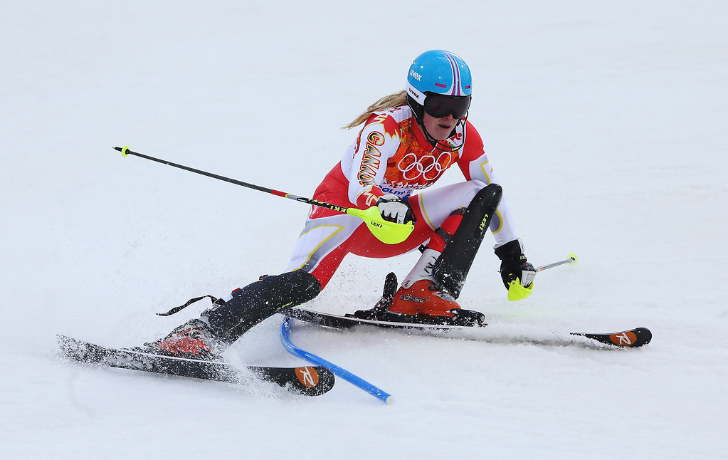 Description of . Erin Mielzynski of Canada in action during the Women's Slalom during day 14 of the Sochi 2014 Winter Olympics at Rosa Khutor Alpine Center on February 21, 2014 in Sochi, Russia.  (Photo by Alexander Hassenstein/Getty Images)